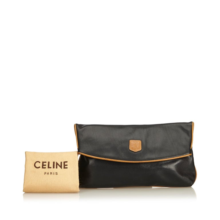Celine Black Leather Clutch Bag For Sale 6