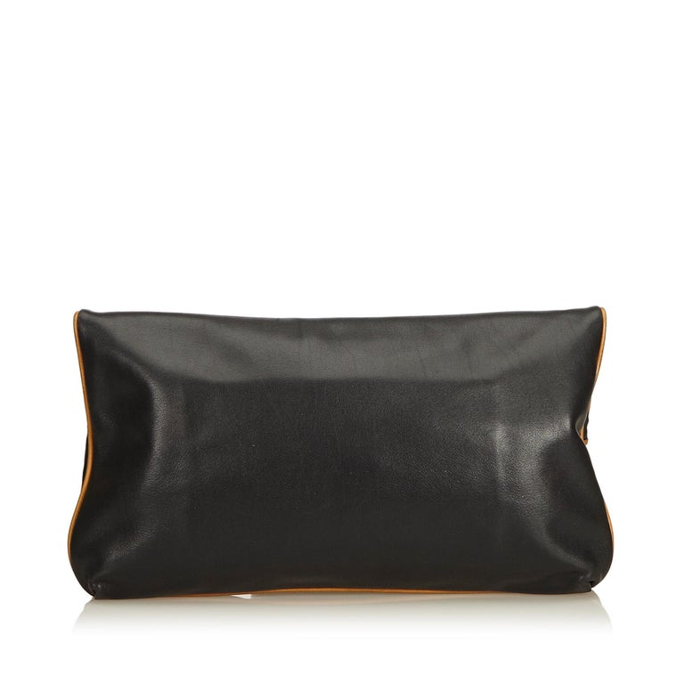 Celine Black Leather Clutch Bag In Good Condition For Sale In Orlando, FL