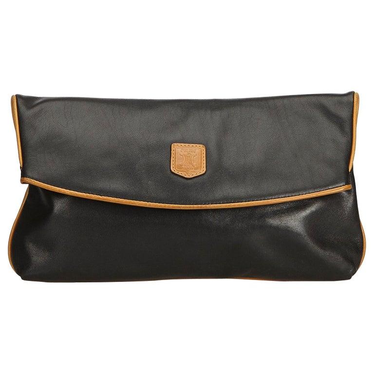 Celine Black Leather Clutch Bag For Sale