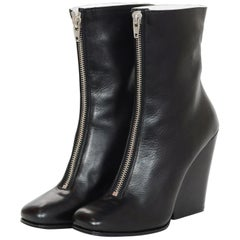Celine Black Leather Front Zipper Wedge Boots Sz 40.5