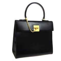 Celine Black Leather Gold Evening Kelly Top Handle Satchel Shoulder Flap Bag
