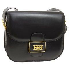 Celine Black Leather Gold Horse Emblem Saddle Shoulder Flap Bag