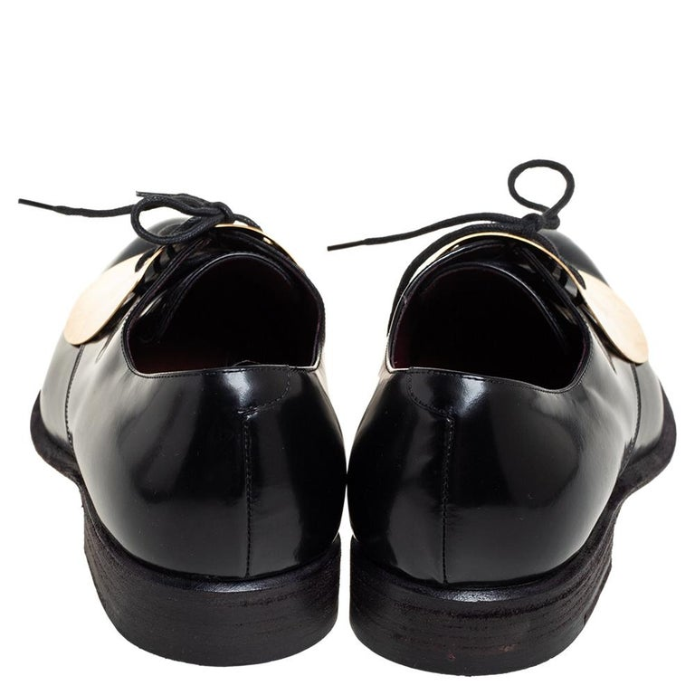 Celine Black Leather Gold Metal Plate Lace Up Derby Size 37.5 For Sale 1