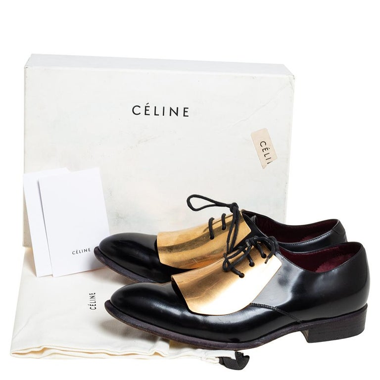 Celine Black Leather Gold Metal Plate Lace Up Derby Size 37.5 For Sale 4
