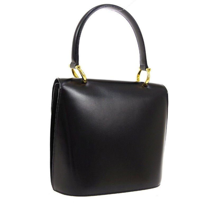 Celine Black Leather Gold Toggle Kelly Top Handle Satchel Flap Tote Bag In Good Condition In Chicago, IL