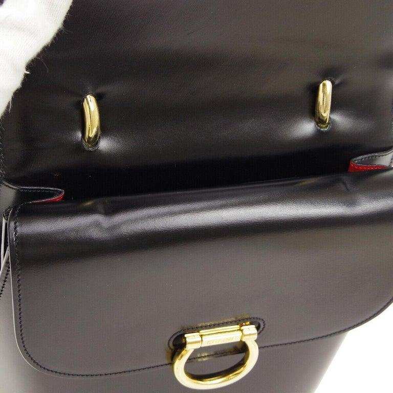 Women's Celine Black Leather Gold Toggle Kelly Top Handle Satchel Flap Tote Bag