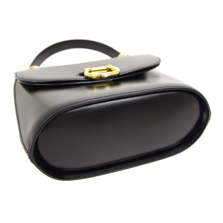 Celine Black Leather Gold Toggle Kelly Top Handle Satchel Flap Tote Bag 1