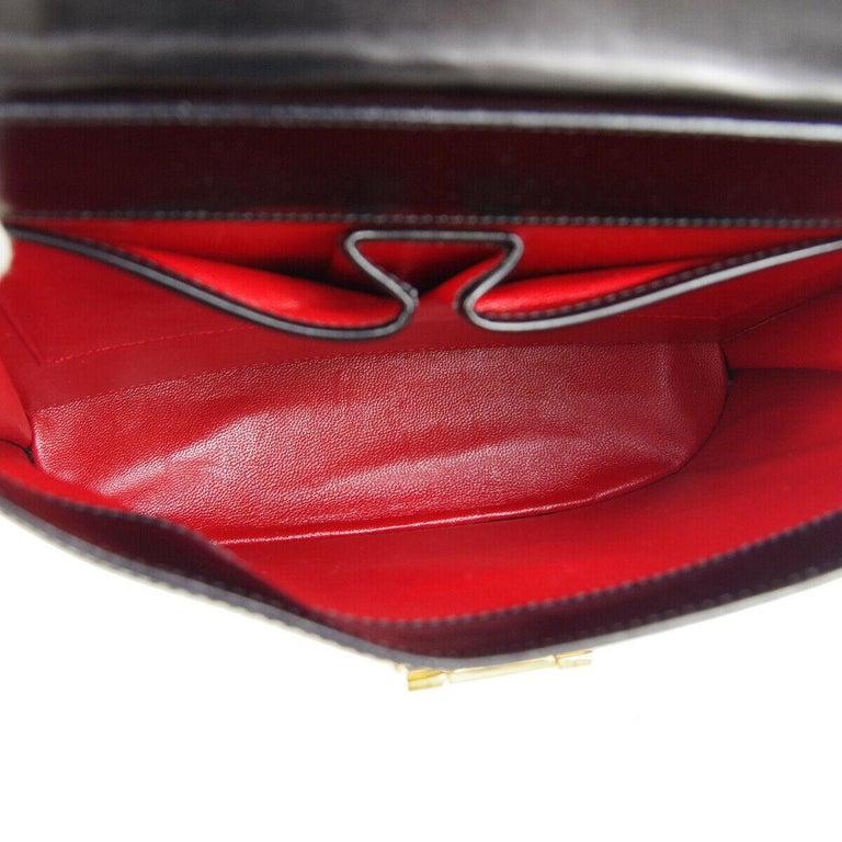 Celine Black Leather Gold Toggle Kelly Top Handle Satchel Flap Tote Bag 2