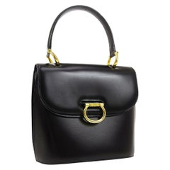 Celine Black Leather Gold Toggle Kelly Top Handle Satchel Flap Tote Bag