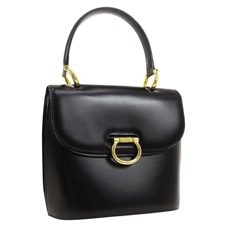 Celine Black Leather Gold Toggle Kelly Top Handle Satchel Flap Tote Bag