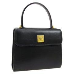 Celine Black Leather Gold Toggle Kelly Top Handle Satchel Shoulder Flap Bag