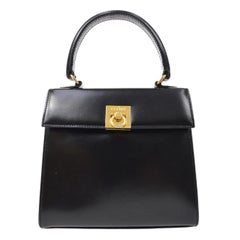 Celine Black Leather Gold Toggle Small Mini Top Handle Kelly Flap Shoulder Bag