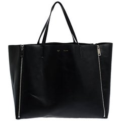 Celine Black Leather Horizontal Zip Cabas Tote