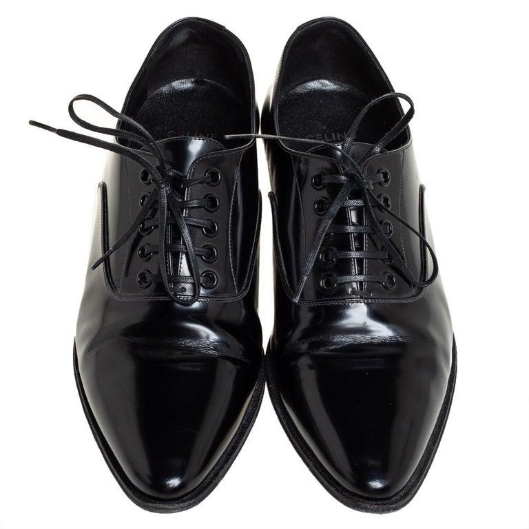 Celine Black Leather Jacno Oxfords Size 36.5 In Good Condition For Sale In Dubai, Al Qouz 2