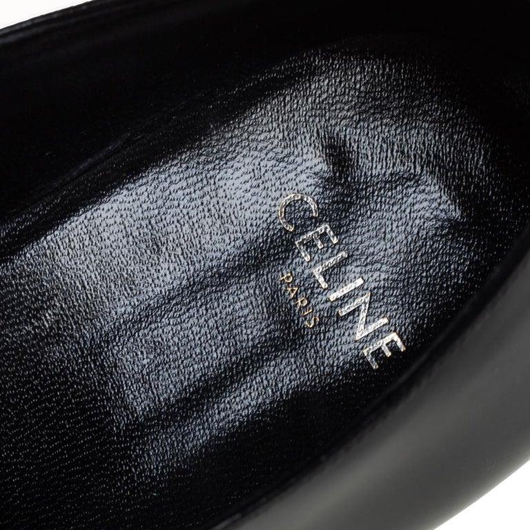 Celine Black Leather Jacno Oxfords Size 36.5 For Sale 1