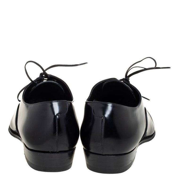 Celine Black Leather Jacno Oxfords Size 36.5 For Sale 2
