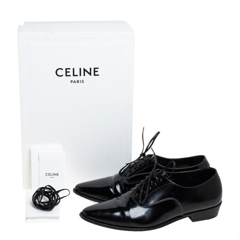 Celine Black Leather Jacno Oxfords Size 36.5 For Sale 3