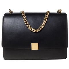 Celine Black Leather Large Case Flap Chain Bag