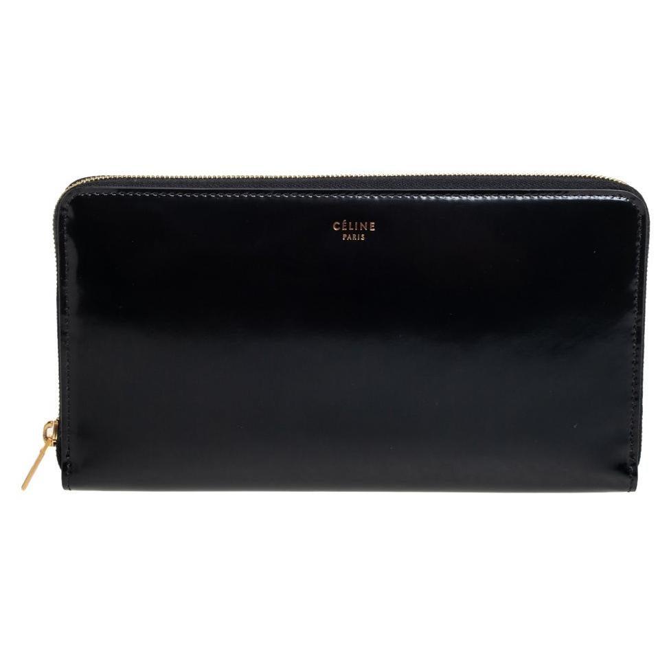 Celine Black Leather Large Zip Around Wallet