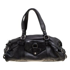 Celine Black Leather Logo Embellished Satchel