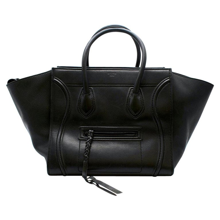 Celine Black Leather Medium Phantom Luggage Tote  - Classic Celine Phantom style tote - Timeless design  - Soft black calfskin leather  - Lambskin lining  - Inner leather clasp closure - Small black outer zip pocket and one large inner pocket - Twin