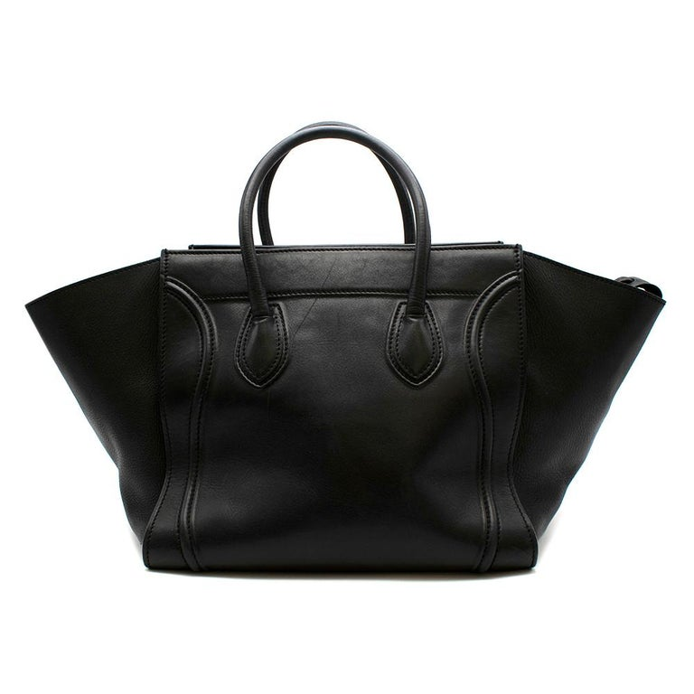 Celine Black Leather Medium Phantom Luggage Tote In Good Condition For Sale In London, GB