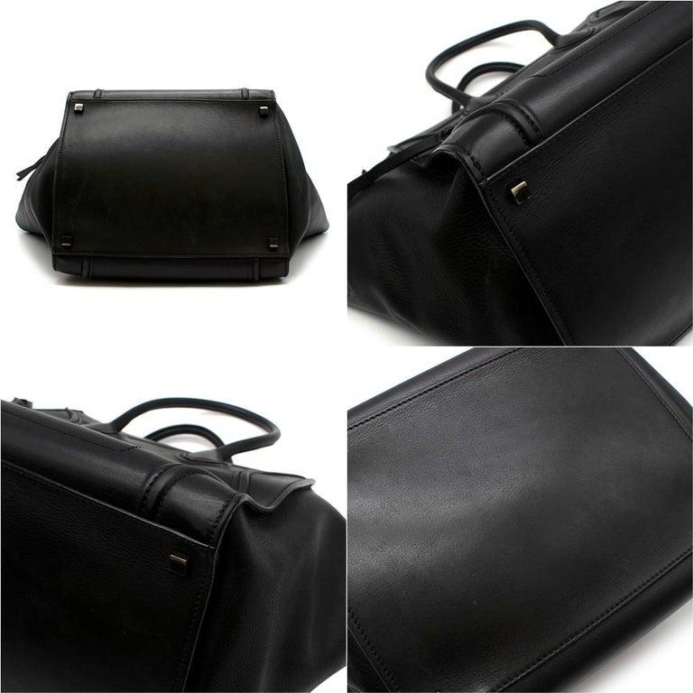 Women's or Men's Celine Black Leather Medium Phantom Luggage Tote For Sale