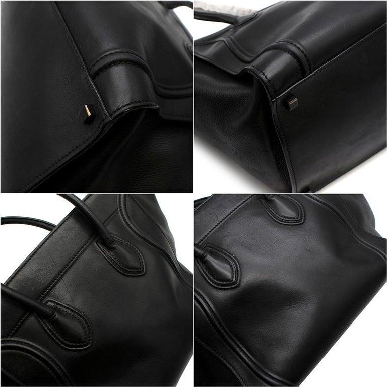 Celine Black Leather Medium Phantom Luggage Tote For Sale 1