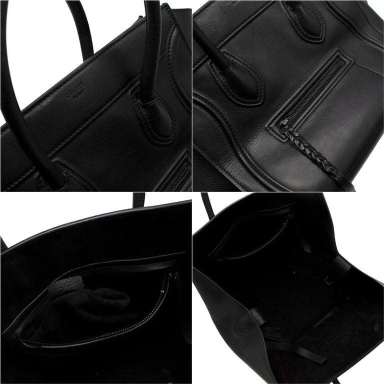 Celine Black Leather Medium Phantom Luggage Tote For Sale 2