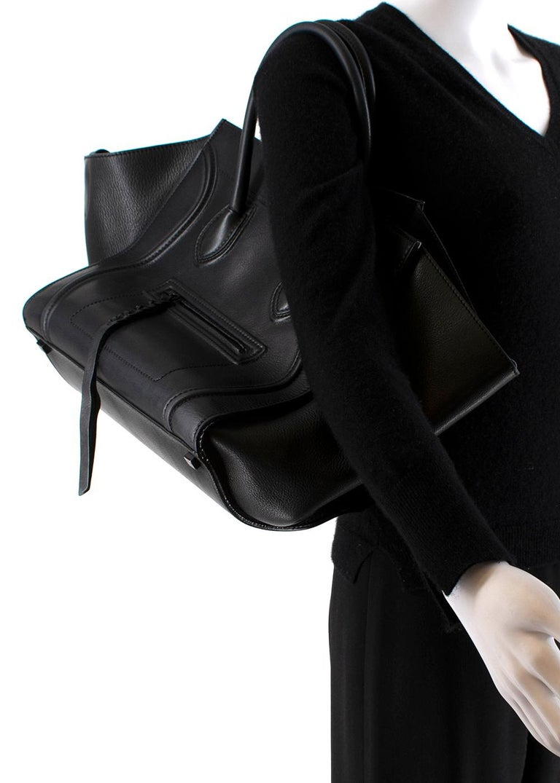 Celine Black Leather Medium Phantom Luggage Tote For Sale 5