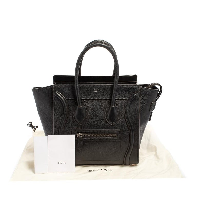 Céline Black Leather Micro Luggage Tote For Sale 6