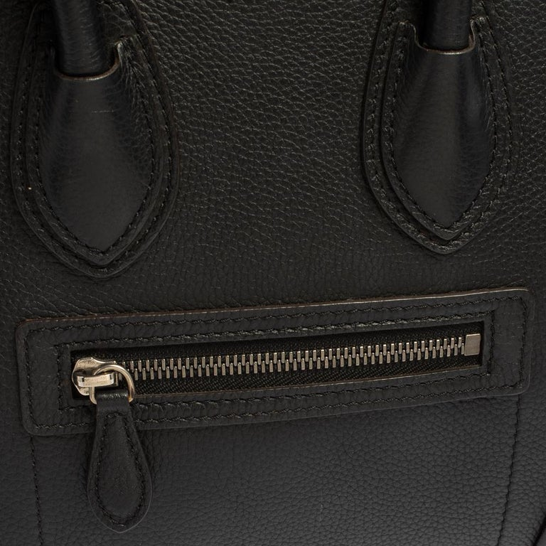 Céline Black Leather Micro Luggage Tote For Sale 7