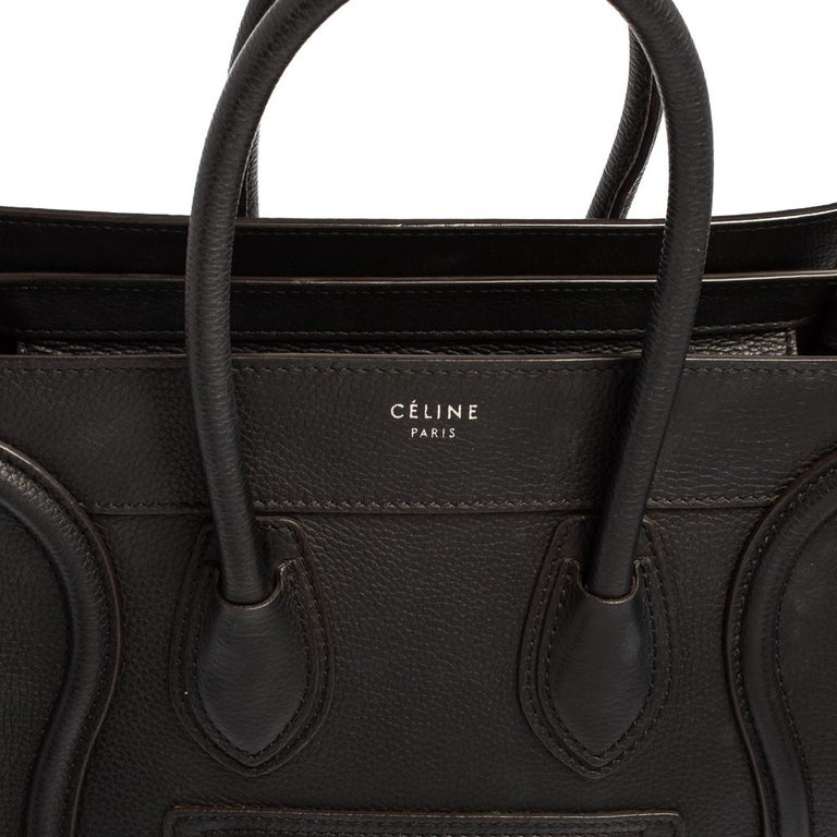 Céline Black Leather Micro Luggage Tote For Sale 8