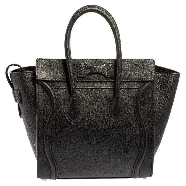 Céline Black Leather Micro Luggage Tote In Good Condition For Sale In Dubai, Al Qouz 2