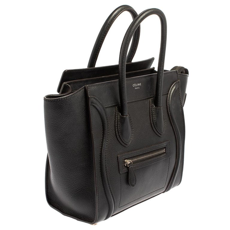 Women's Céline Black Leather Micro Luggage Tote For Sale