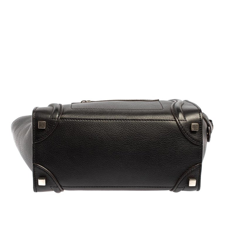 Céline Black Leather Micro Luggage Tote For Sale 1