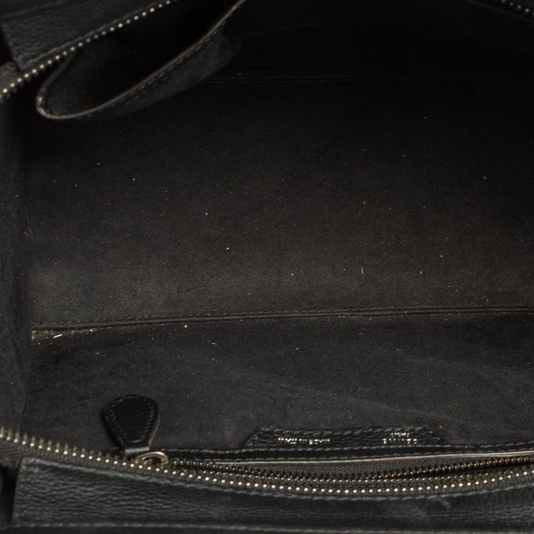 Céline Black Leather Micro Luggage Tote For Sale 3