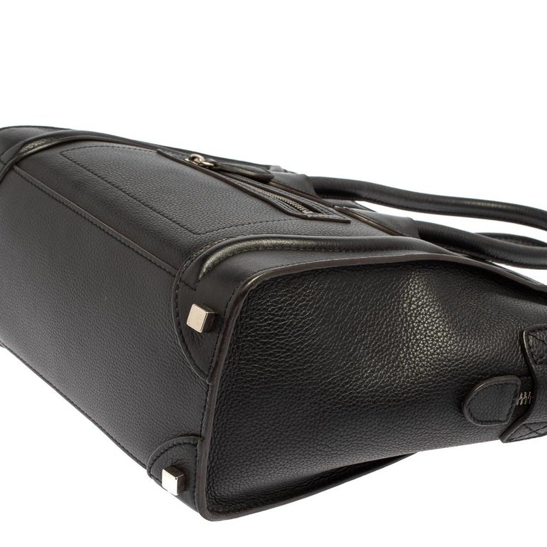 Céline Black Leather Micro Luggage Tote For Sale 4