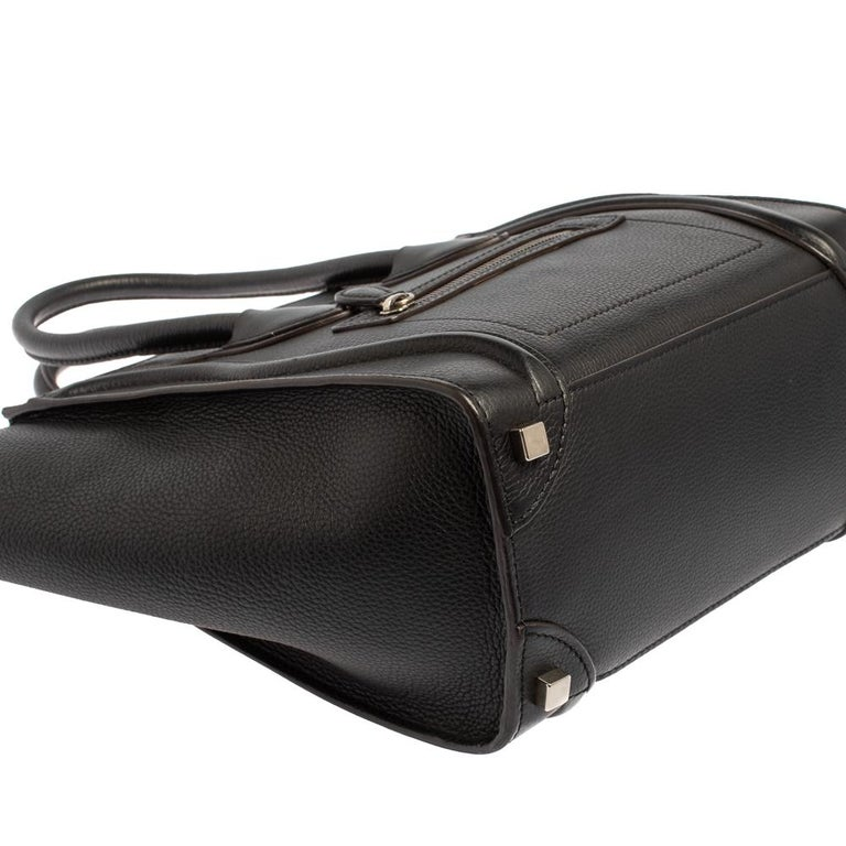 Céline Black Leather Micro Luggage Tote For Sale 5