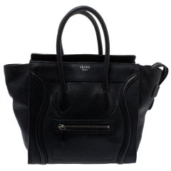Celine Black Leather Micro Luggage Tote