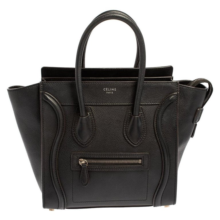 Céline Black Leather Micro Luggage Tote For Sale