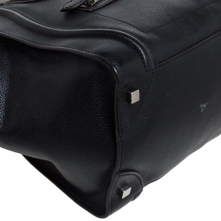 Celine Black Leather Mini Luggage Tote For Sale 6