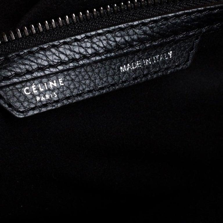Celine Black Leather Mini Luggage Tote For Sale 7