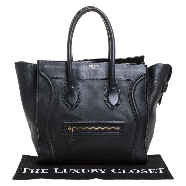 Celine Black Leather Mini Luggage Tote For Sale 8
