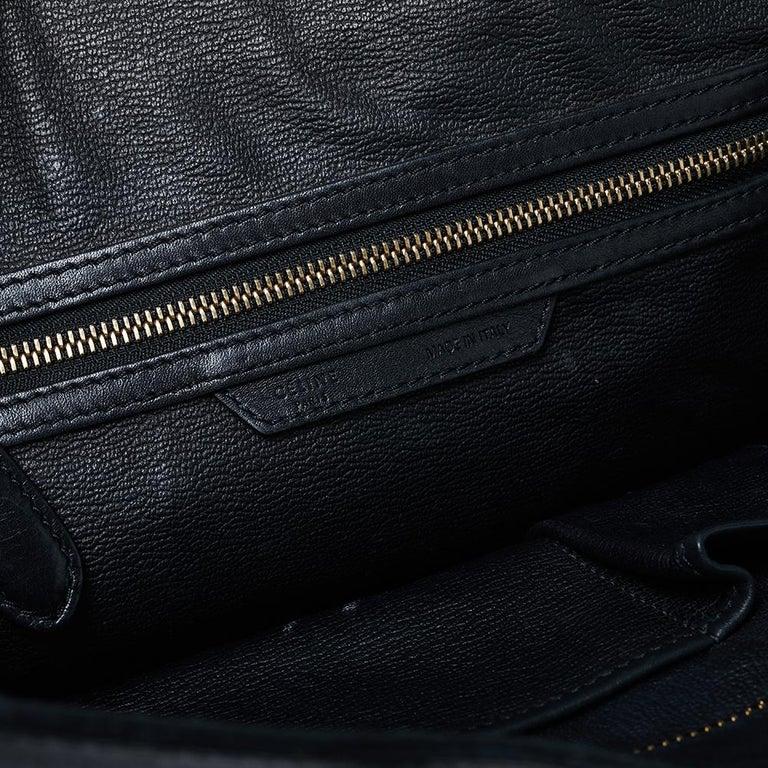 Celine Black Leather Mini Luggage Tote For Sale 8