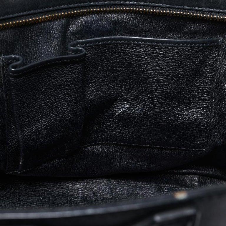 Celine Black Leather Mini Luggage Tote For Sale 10