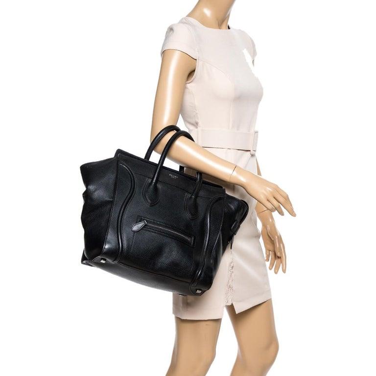 Celine Black Leather Mini Luggage Tote In Good Condition For Sale In Dubai, Al Qouz 2