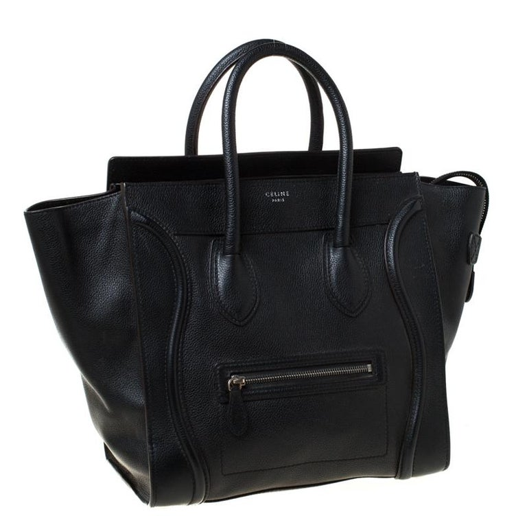 Women's Celine Black Leather Mini Luggage Tote