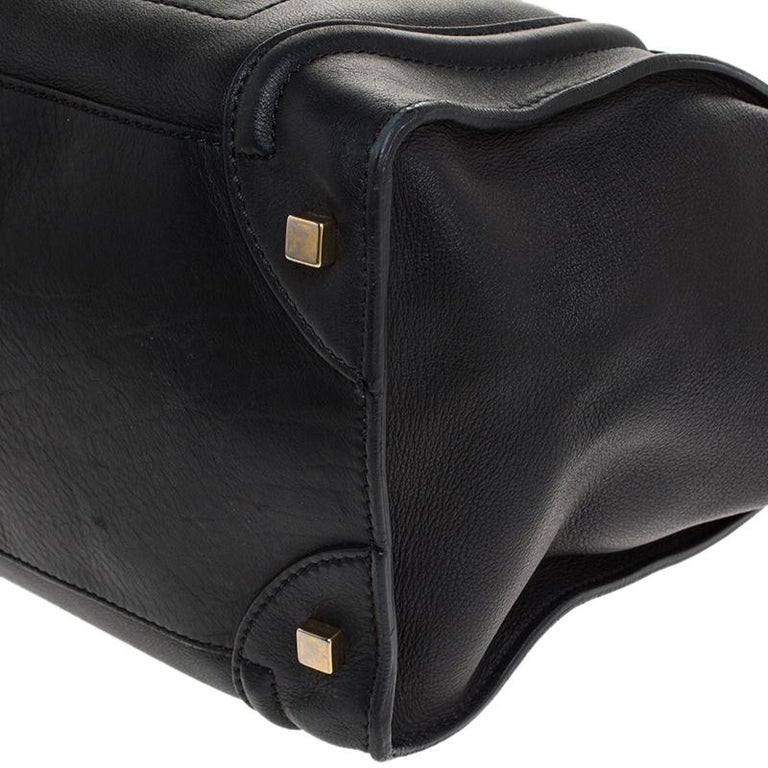 Women's Celine Black Leather Mini Luggage Tote For Sale