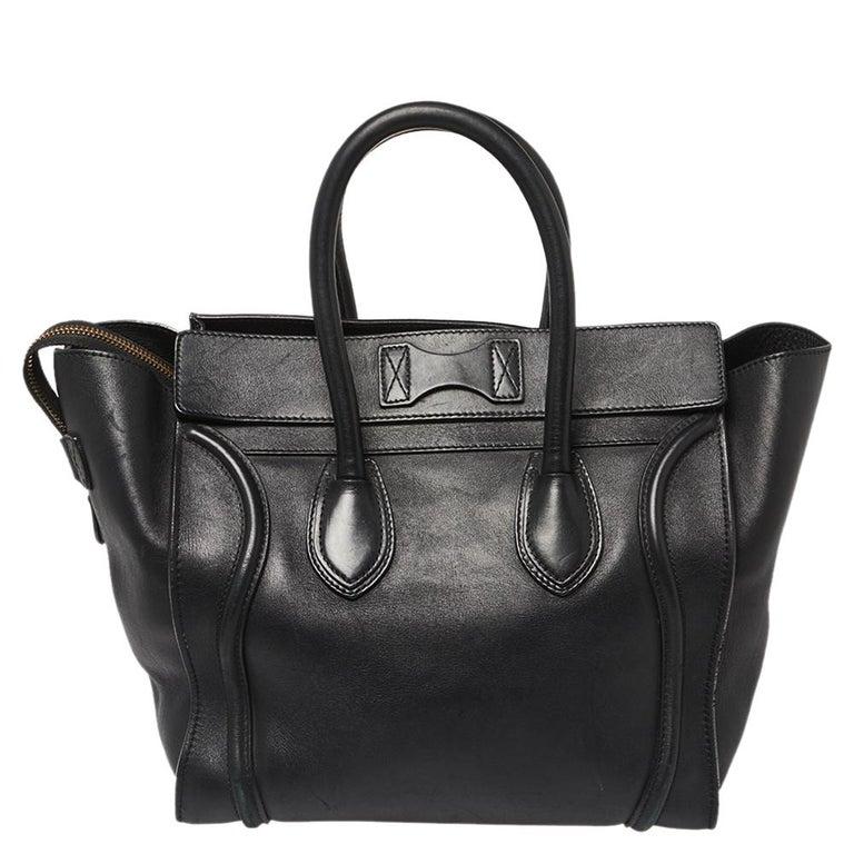 Women's Celine Black Leather Mini Luggage Tote For Sale